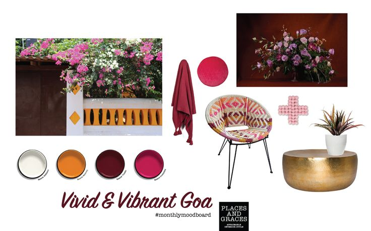 Vivid and vibrant Goa – a moodboard inspired by the seaside streets of Indias' Goa #moodboard by #placesandgraces #india #panjim #goa