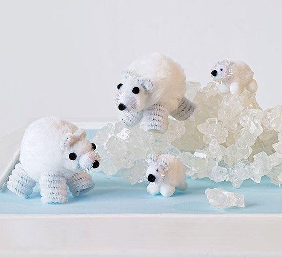 Learn how to make adorable Pom-Pom Polar Bears.