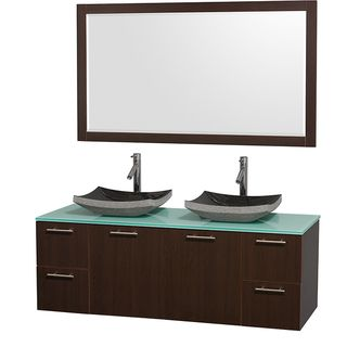 Wyndham Collection Amare Espresso 60-inch Double Bathroom Vanity and Green Glass Countertop - Overstock™ Shopping - Great Deals on Wyndham Collection Bath Vanities