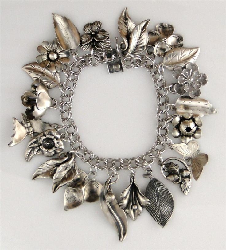 Vintage Sterling Flowers & Leaves Charm Bracelet 1940's-50's