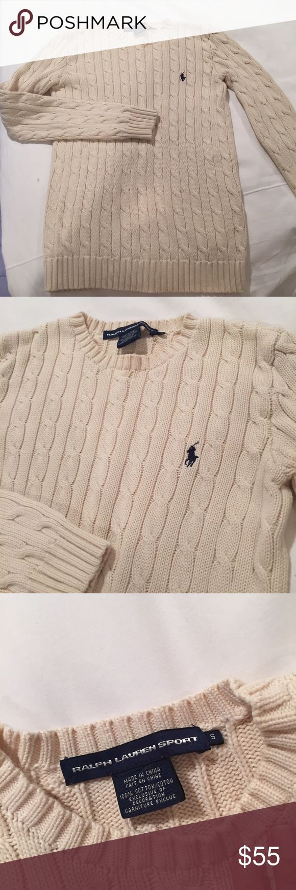 Ralph Lauren Classic Sweater Classic never goes out of style. Amazing quality! Worn once. Off white. Size small. 100% cotton. Ralph Lauren Sport. Ralph Lauren Sweaters Crew & Scoop Necks