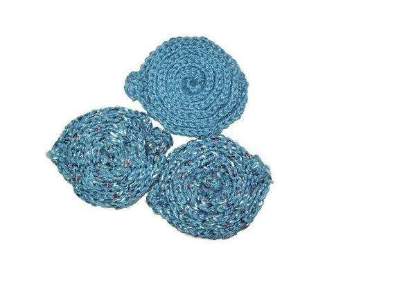 Spiral Scrubbies, Set Of 3 Dish Scrubber, Body Scrubber Blue Scrubbers