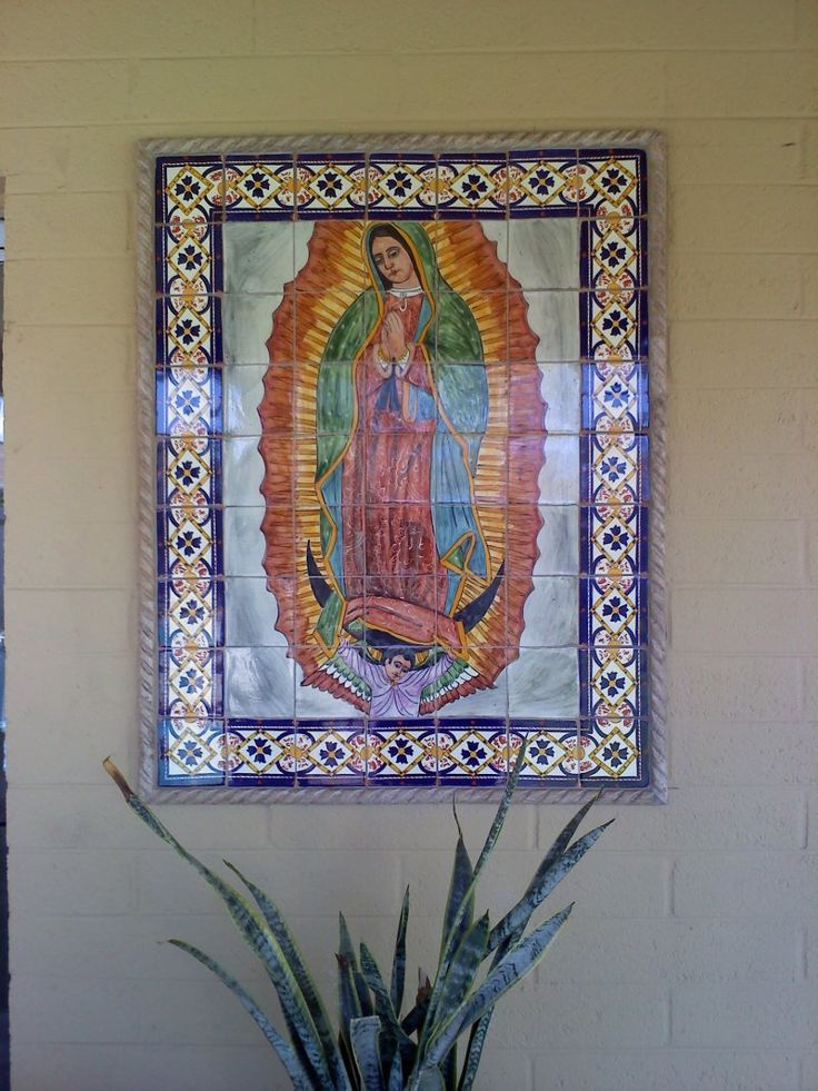 Our Lady Virgen De Guadalupe Mexican Tile Mural, Mexican Home Decor Gallery. Mission Accesories, Copper Sinks, Mirrors, Tables And More
