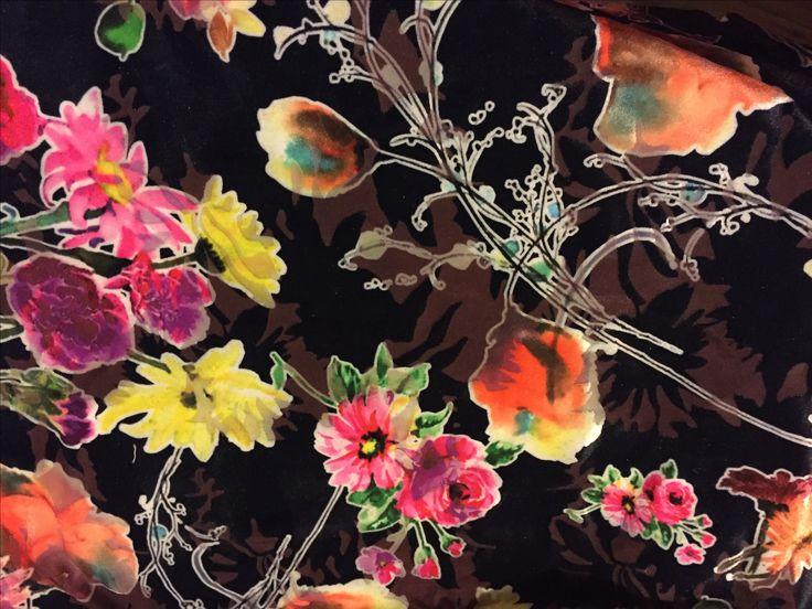 Floral velvet flocking 4 way stretch  3 metres x 160cm