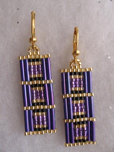 Free Shipping Beadwoven Rectangle Earrings Purple by pattimacs