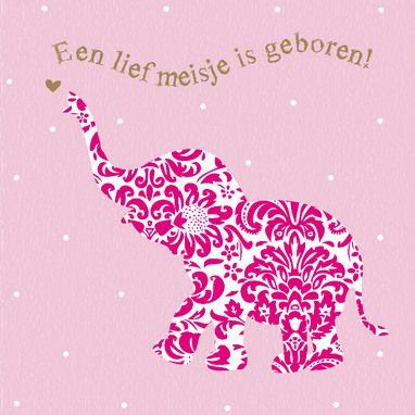 Babyolifantje versierd met roze bloemen- Greetz