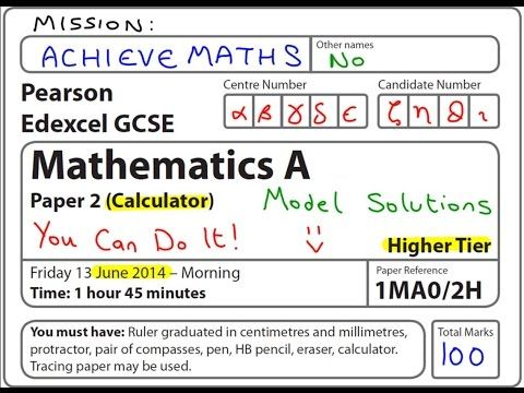 9 best gcse maths images on pinterest gcse math guided maths and gcse maths edexcel june 2014 2h higher calculator complete paper youtube fandeluxe Images