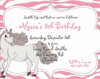 Best Isabelles Invites Images On Pinterest Horse Party - Horseback riding birthday invitation