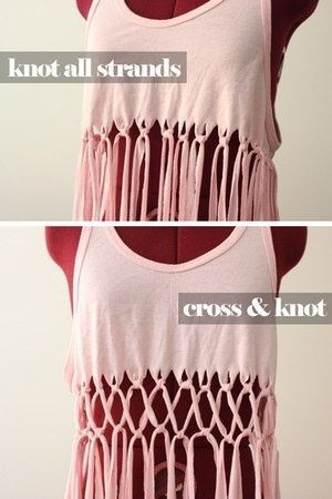 New way to cut a shirt. Could tie a strip of a different shirt in to change colors! (No link)