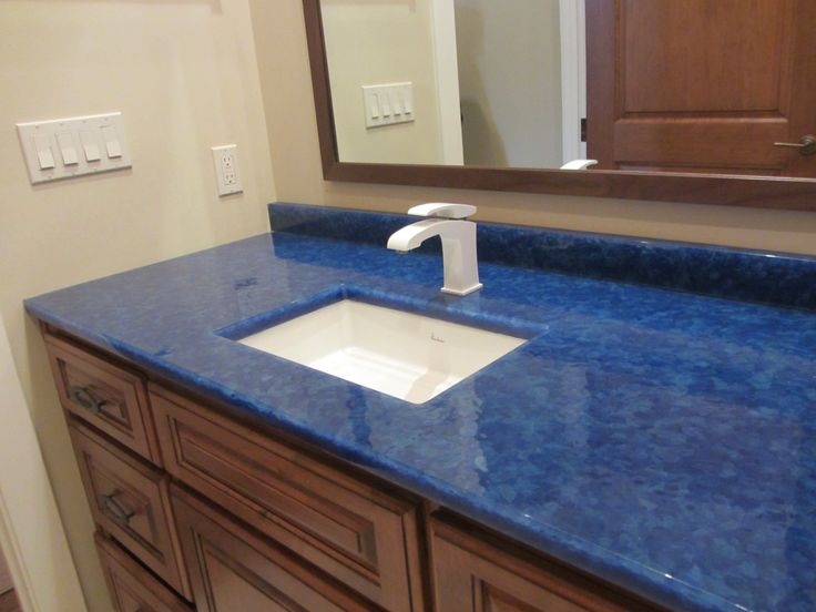 Custom Blue Glass Countertop   Sustainable Glass Material   Galveston  Project With White Plumbing