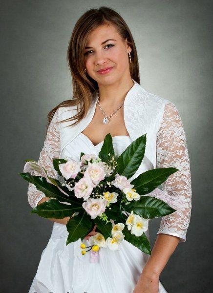Svatební společenské Bolerko RENATA > varianta Bílá.ecru,černá