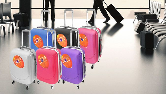 Hard Shell Lightweight Suitcase - 6 Colours Make jet-setting nice and easy with thisHard Shell Lightweight Suitcase      Includes black, hot pink, light pink, purple, blue or silver      This cabin friendly suitcase is lightweight and easy to transport      Comes with wheels for easy travel      Great for weekends away or light travelling      Available in black, hot pink, purple, light...