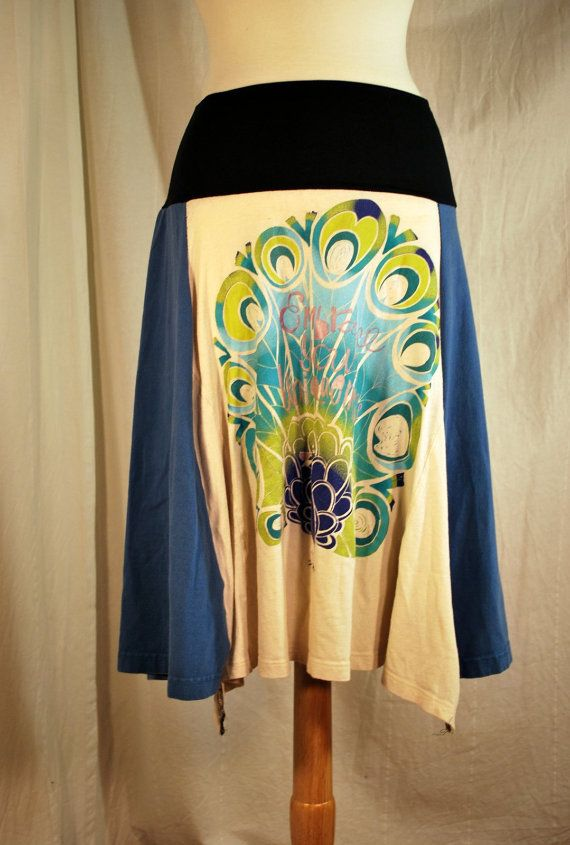 Recycled tee shirt skirt  plus size with yoga pant by oreomocha, $26.00
