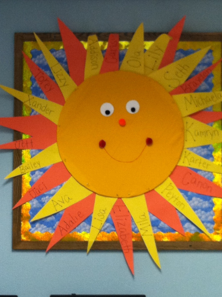 Sun bulletin board preschool pinterest sun bulletin for Art and craft for school decoration