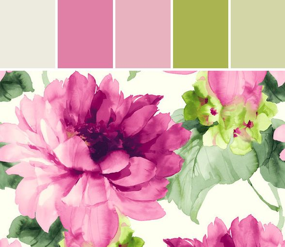 Floral Leaves Wallpaper in Pink and Greens Designed By Burke Decor via Stylyze