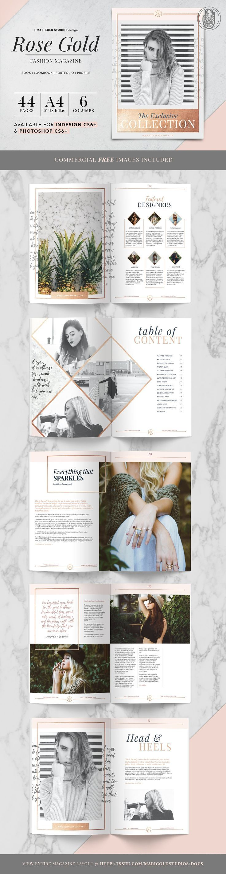 ROSE GOLD | Magazine by Marigold Studios on @creativemarket Ready for Print Magazine and Brochure template creative design and great covers, perfect for modern and stylish corporate appearance for business companies. Modern, simple, clean, minimal and feminine layout inspiration to grab some ideas.