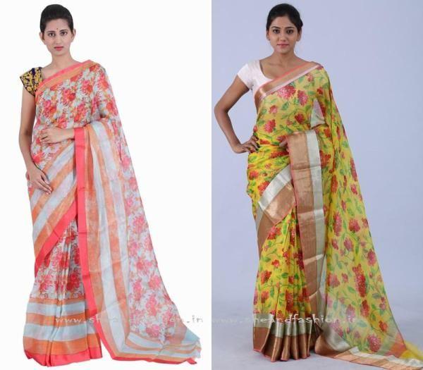 Floral Gorgett Saree Designs