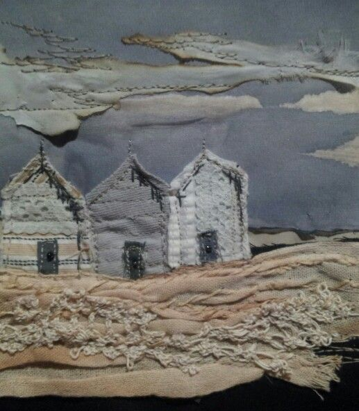 Beach Huts Fading Light -Laura Edgar #textile art # embroidery #collage www.lauraedgar.co.uk