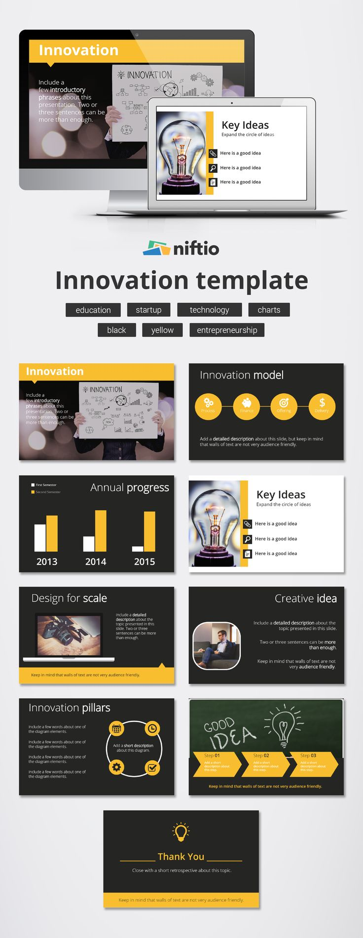 "‪#‎TemplateThursday‬: Stand out from the crowd by creating a memorable presentation starting from our ""#Innovation"" Template   #design #presentation #slides #layouts"