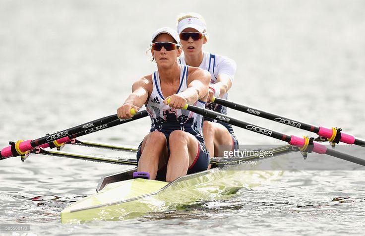Katherine Grainger and Vicky Thornley of Great Britain train at Lagoa Rodrigo de…