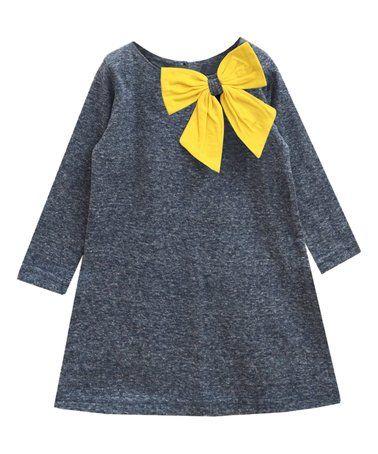 Fossil Gray Melange & Yellow Bow Aurora Dress - Infant, Toddler & Girls #zulilyfinds