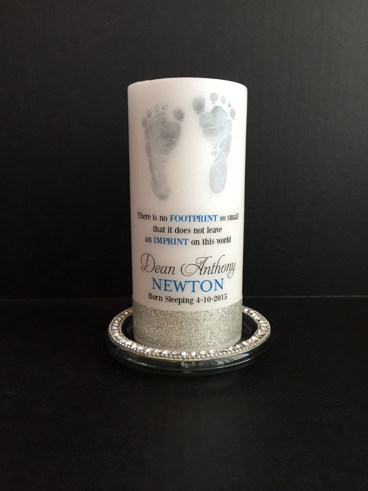 Footprint baby memorial candle, personalized candle, born sleeping candle, angel baby candle, memorial candle by LApercu on Etsy https://www.etsy.com/listing/231679344/footprint-baby-memorial-candle