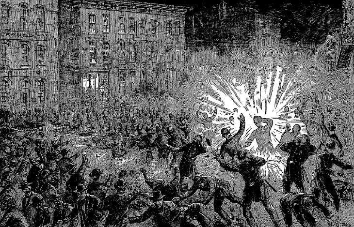 Depiction of the explosion, Haymarket Affair