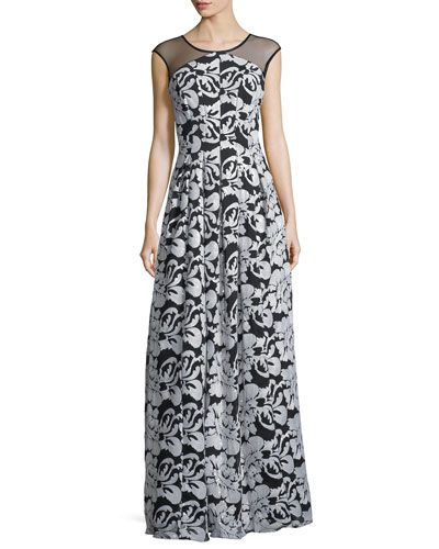 KAY UNGER SEQUIN EMBROIDERED ILLUSION-YOKE GOWN. #kayunger #cloth #