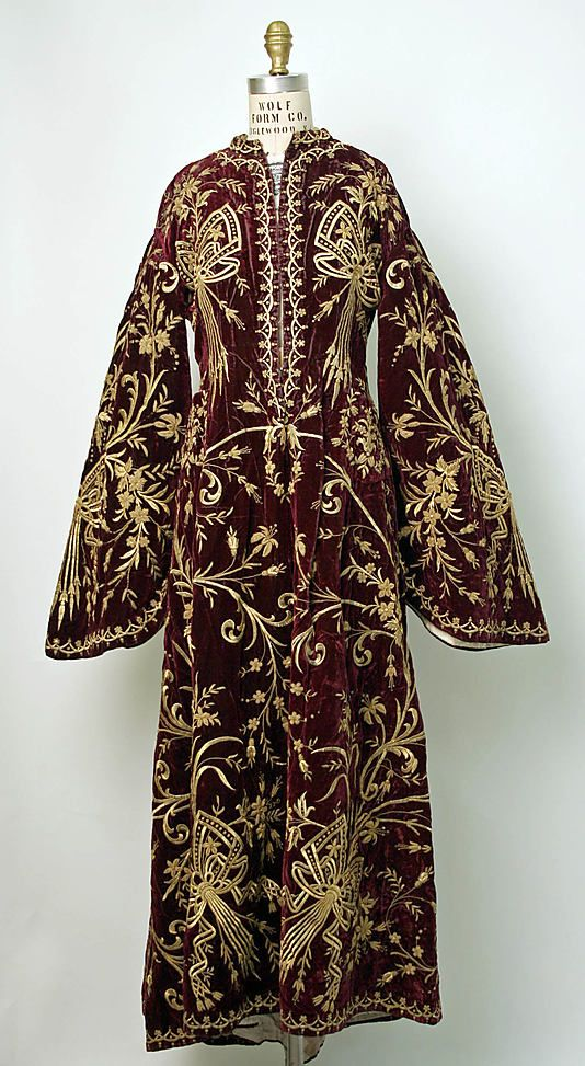 ottoman turkish robe • silk, cotton and metal • mid 19th Century Compare this to the Turkish robe at the Honolulu Museum of Art