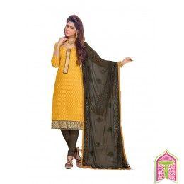 Unstitched Salwar Kameez looks for inspiration mustard With brown color Designer Salwar Suit