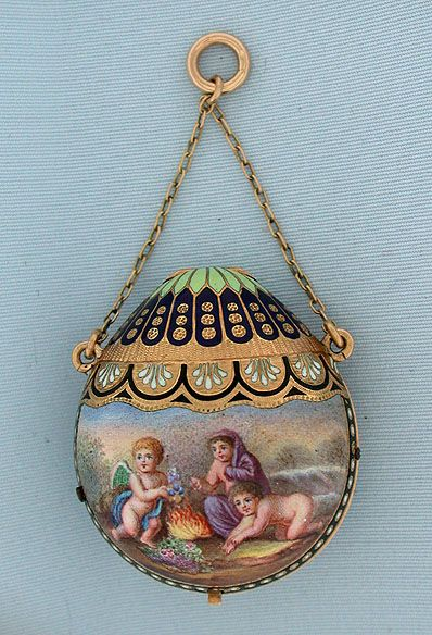 Bogoff Antique Pocket Watches Baloon Form 18K Gold & Enamel Watch - Bogoff Antique Pocket Watch # 6430