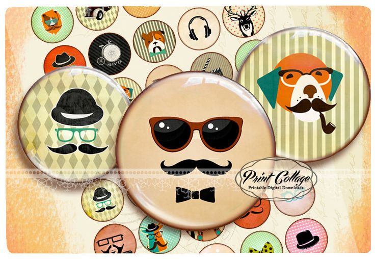 Buttons Pinback Digital Printable Images Button machine 1.313 inch Flatback Buttons Flair Buttons Clip art Hipster b114 - pinned by pin4etsy.com