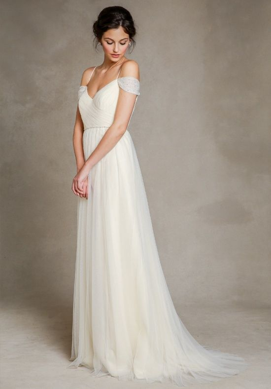 Best Ivory tulle A line crisscross sweetheart neckline wedding dress with delicate spaghetti straps