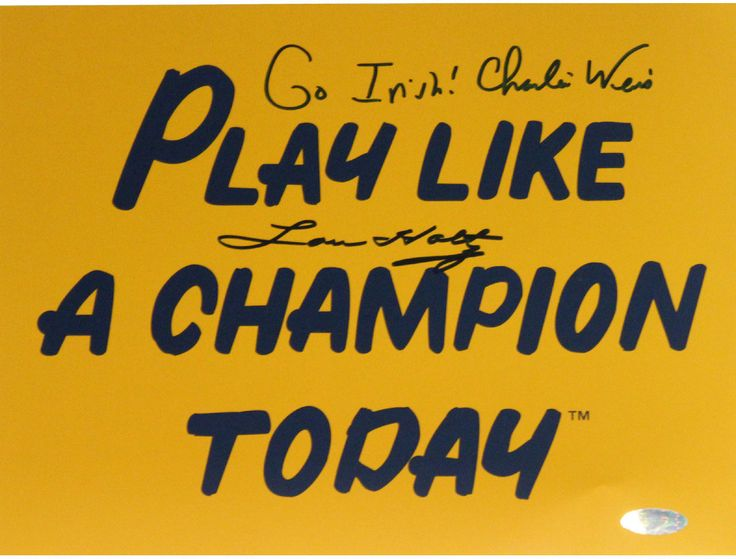 Lou Holtz / Charlie Weis Dual Signed Play Like A Champion Today 8x10 Photo w/ 'Go Irish' Insc. by Weis