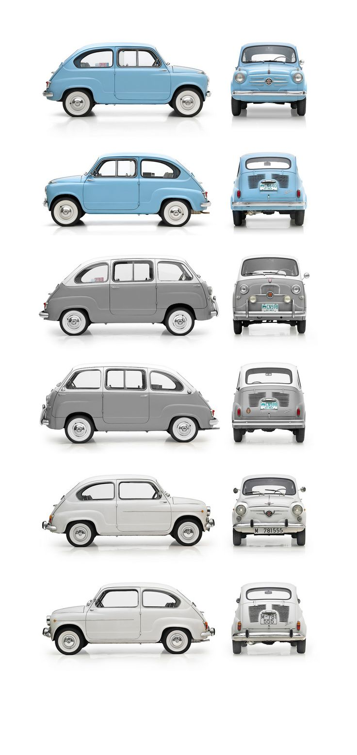Micromobiles: 1955  Fiat 600, 1956 Fiat 600 Multipla, 1960 Austin A35 Saloon  // classic and vintage car design