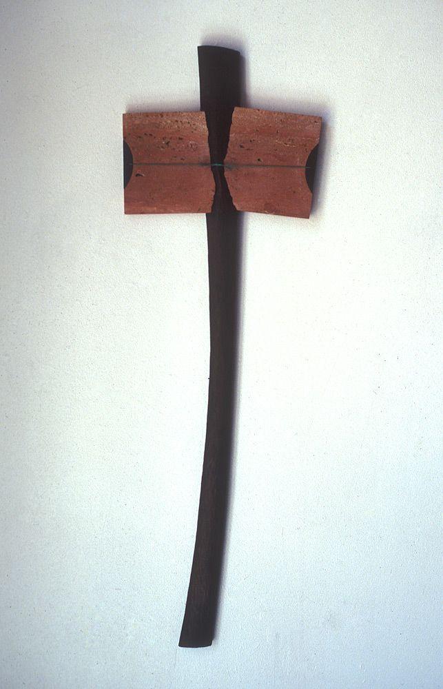 "Broken Tablet Cross | Theodore Prescott Broken Tablet Cross 1988. cherry, travertine marble, copper, 51"" h. x 16.5"" w. Private collection."