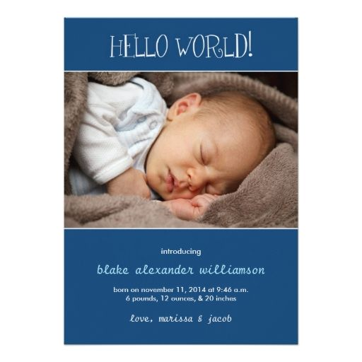 1811 best Baby Boy Birth Announcements Invitations images on – Baby Birth Invitation Card
