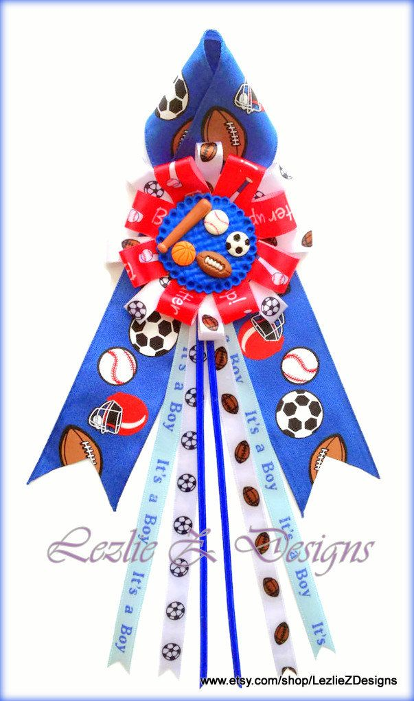Sports Star Baby Shower Corsage Mom to Be All por LezlieZDesigns