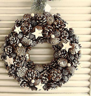 Kranz, echte Zapfen, Sterne, Braun mit Eiszucker, Weihnachten, Shabby,