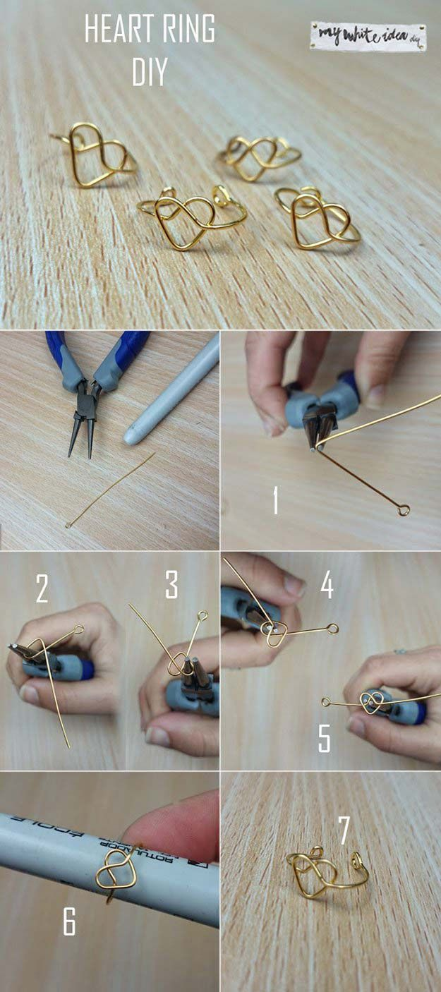 Crafts to Make and Sell - Heart Ring DIY - Easy Step by Step Tutorials for Fun, Cool and Creative Ways for Teenagers to Make Money Selling Stuff - Room Decor, Accessories, Gifts and More http://diyprojectsforteens.com/diy-crafts-to-make-and-sell