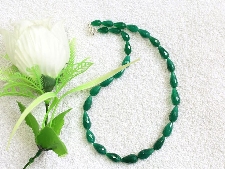 1 Strand 100% Natural AAA Quality Green Onyx Drops Beads Necklace 17x9mmmm-10x6mm Faceted Lobster Lock Gemstone Necklace 15'' Long Strand by zakariyagems on Etsy