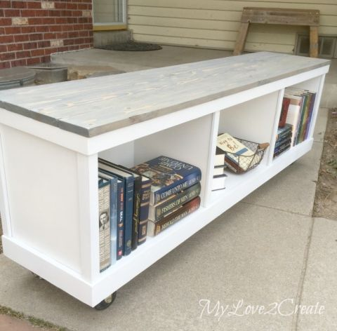 Cheap cabinet into nice bench storage benches book for Cheap book storage