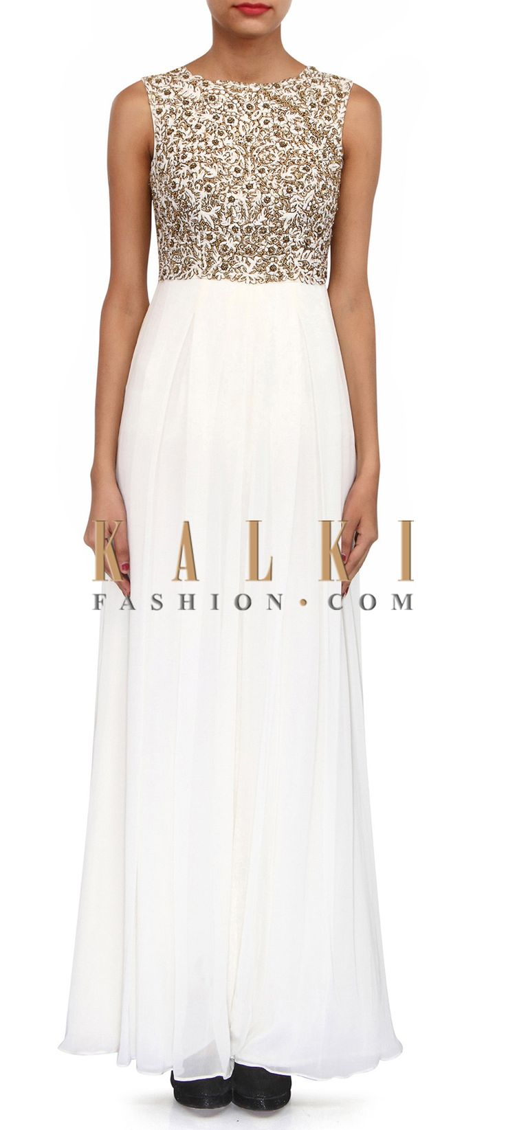 Buy Online from the link below. We ship worldwide (Free Shipping over US$100). Product SKU - 306832.Product Link - http://www.kalkifashion.com/white-jumpsuit-embellished-in-thread-and-zardosi-embroidery-only-on-kalki.html