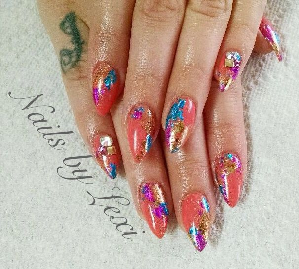 Stiletto nails with Artistic Colour Gloss in Snapdragon (03079) and foils