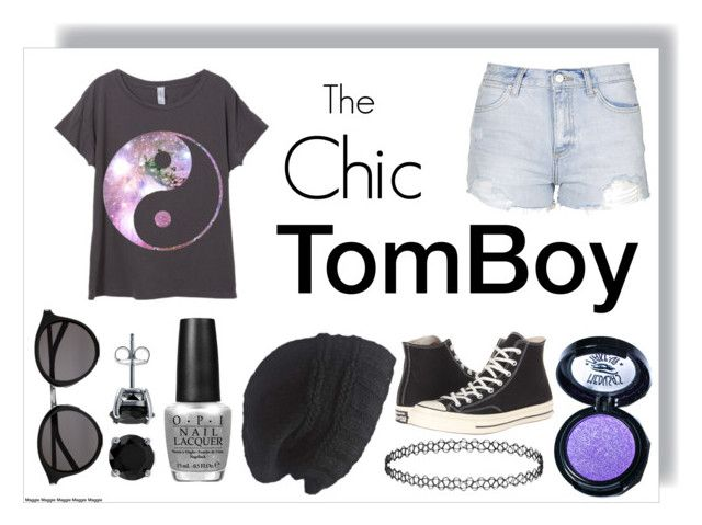 """""""Tomboy look"""" by fasionistaclaire ❤ liked on Polyvore featuring Topshop, OPI, Converse, Laundromat, Medusa's Makeup, Yves Saint Laurent, BERRICLE, women's clothing, women and female"""