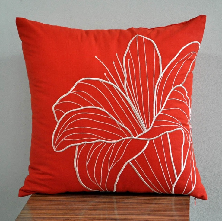 Orange Lily Pillow Cover, Embroidered Decorative Pillow Cover, Beige Flower on Orange Linen, Pillow Case 18 x 18, Orange Pillow Cover. $22.00, via Etsy.
