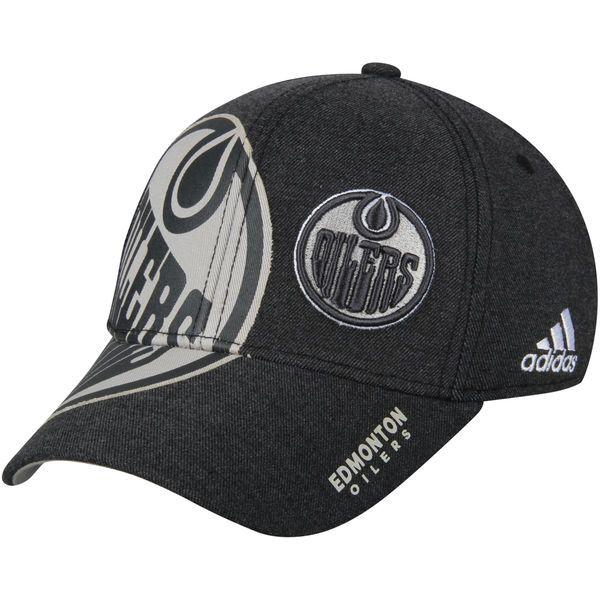 85f2c629eb7 Men s Edmonton Oilers adidas Black Travel   Training Flex Hat