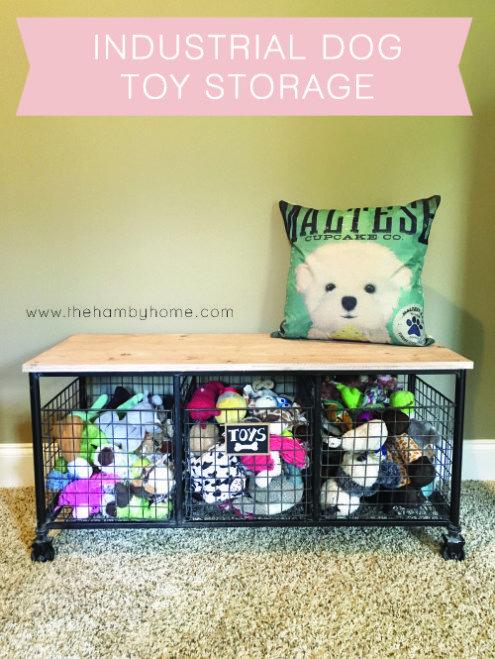 Industrial Bench Dog Toy Storage