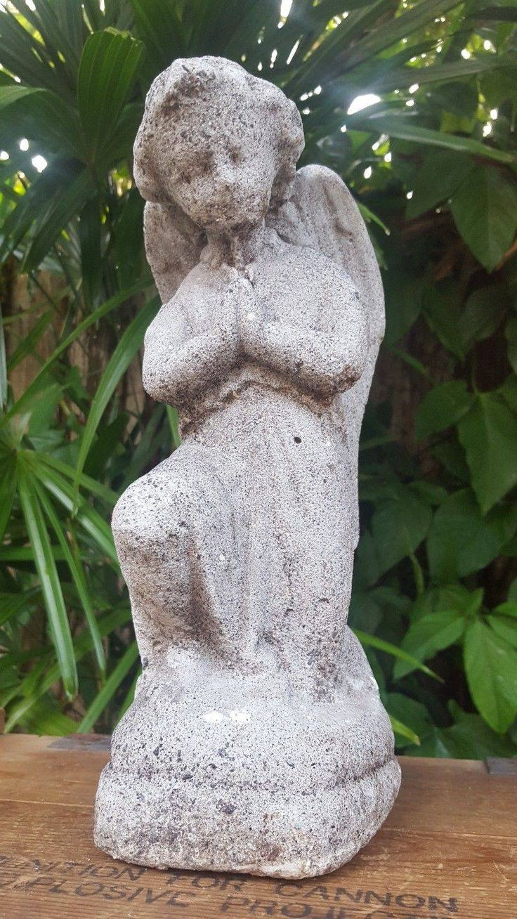 awesome Vtg GARDEN/LAWN STATUE CHERUB ANGEL with WINGS Concrete/Cement Statuary Decor Check more at https://aeoffers.com/product/arts-and-crafts-collectibles-handmade-online/vtg-gardenlawn-statue-cherub-angel-with-wings-concretecement-statuary-decor/