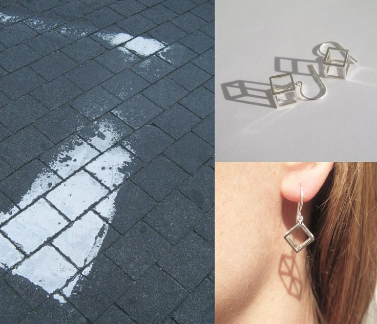 Simple silver cube ear hangers, light in weigth but with a nice volume